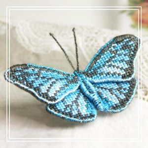 butterfly brooch cross-stitch kit