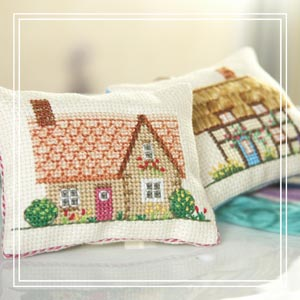 teeny-cushion cross-stitch kit