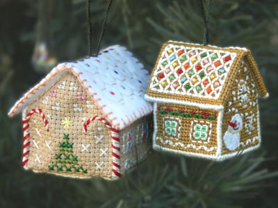 Tiny cross-stitch ornament _ Snowdrift Cottage & Jennifer Jones's Gingerbread Cottage